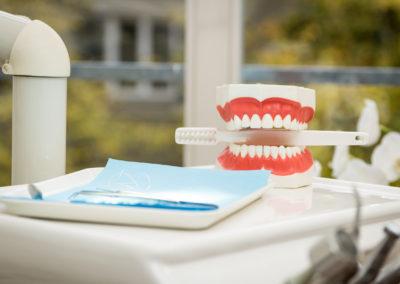 Zähne mit Zahnbürste
